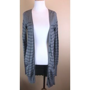 Mossimo Grey & Black Long Button Detail Cardigan